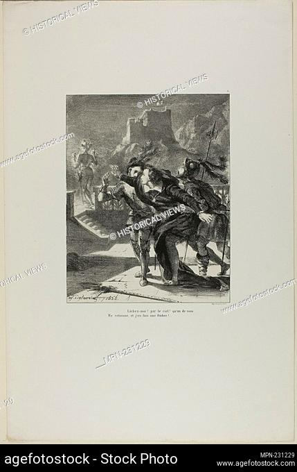 Hamlet Pursuing His Father's Ghost, plate 2 from Hamlet - 1835 - Eugène Delacroix French, 1798-1863 - Artist: Eugène Delacroix, Origin: France, Date: 1835