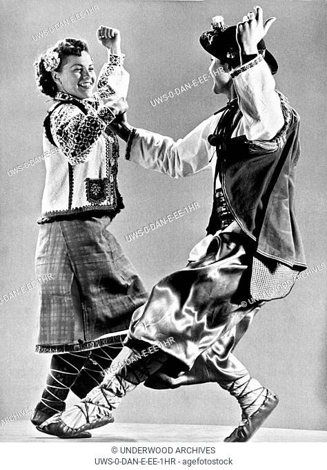 Ukraine: 1942.Ukranian peasant folk dancers caught in mid step by high speed photography
