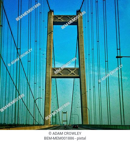 Suspension bridge under blue sky, Tacoma, Washington, United States