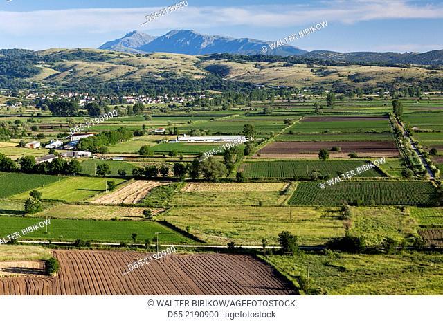 Greece, Epirus Region, Zagorohoria Area, Metamorfosi, elevated farm view