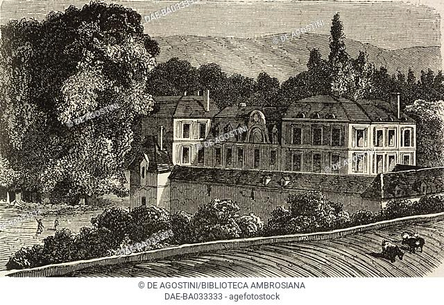 Chamarande castle, along the Paris-Tours railway line, France, drawing by Pharamond Blanchard (1805-1873) and Adrien Dauzats (1804-1868)