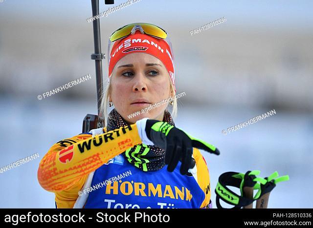 Karolin HORCHLER (GER), gesture, action, single image, cut single motif, portrait, portrait, portrait. 7.5km sprint of women, women on January 15th, 2020