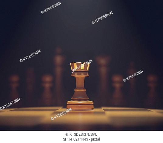 Chess rook on board