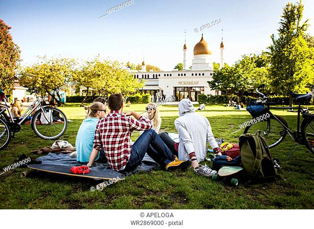 Group of friends sitting at park in city
