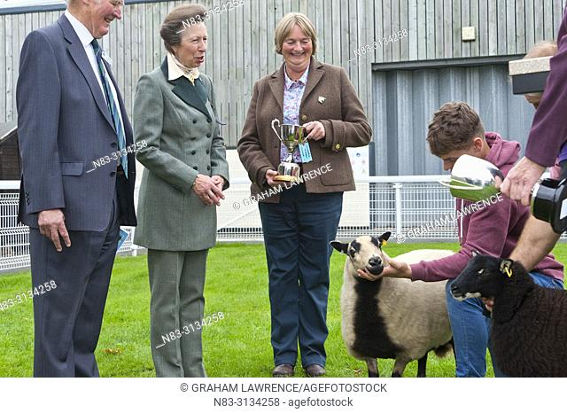 Anne, Princess Royal, visits the NSA Wales & Border Ram Sale at the Royal Welsh Showground in Builth Wells, in Powys, Wales, UK