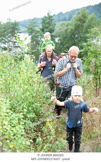 Family hiking