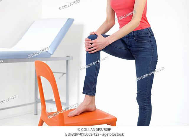 Female patient consulting for knee pain
