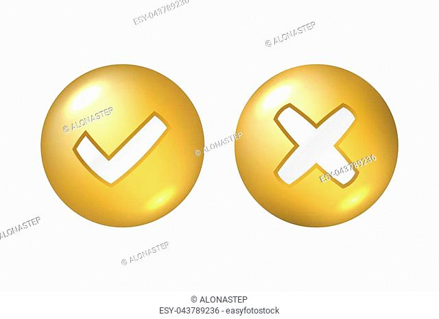 Tick and cross gold metallic sign element. Golden checkmark OK, X icon on white background. Check marks graphic design. YES and NO button for vote, decision
