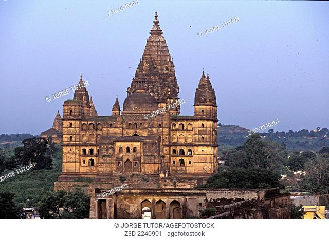 Chaturbhuj Temple at sunset, dedicated to Lord Vishnu. Orchha in Madhya Pradesh, India