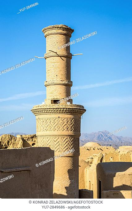 So called shaking minaret in old, abandoned part of Kharanaq village in Ardakan County, Yazd Province, Iran