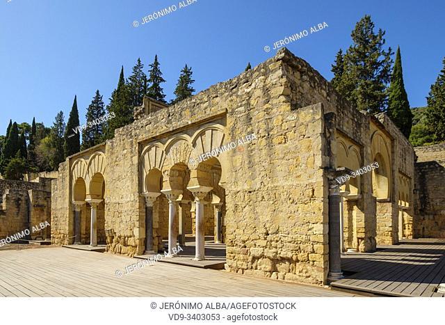 UNESCO World Heritage Site, Medina Azahara. Archaeological site Madinat al-Zahra, upper basilica buiding. Cordoba. Southern Andalusia, Spain. Europe