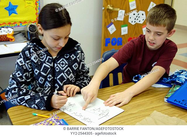 Students Working Together in Math Class, Wellsville, New York, United States