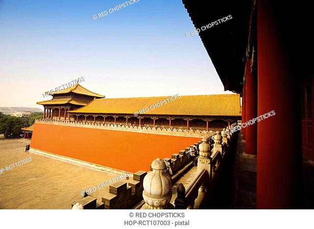 Railing with colonnade in a building, Forbidden City, Beijing, China