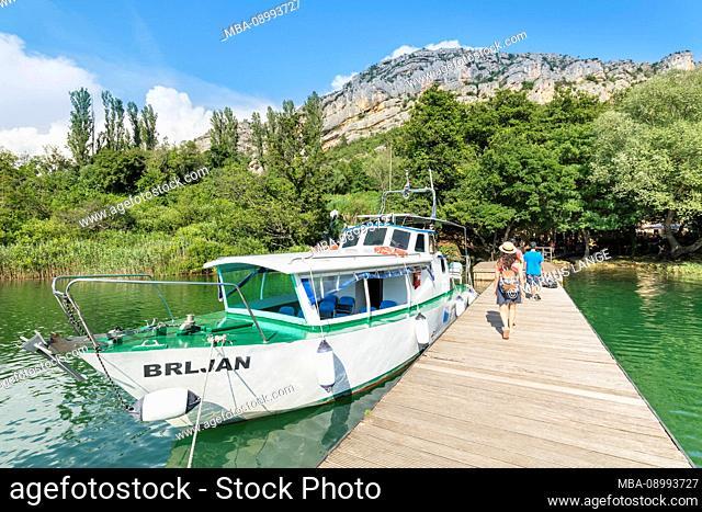 Jetty near the Roski Slap waterfall, Krka National Park, UNESCO World Heritage Site, Dalmatia, Croatia