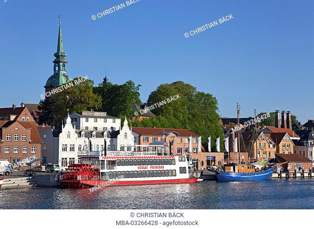 Harbour of Kappeln at the Schlei river, Schleswig - Holstein, North Germany, Germany