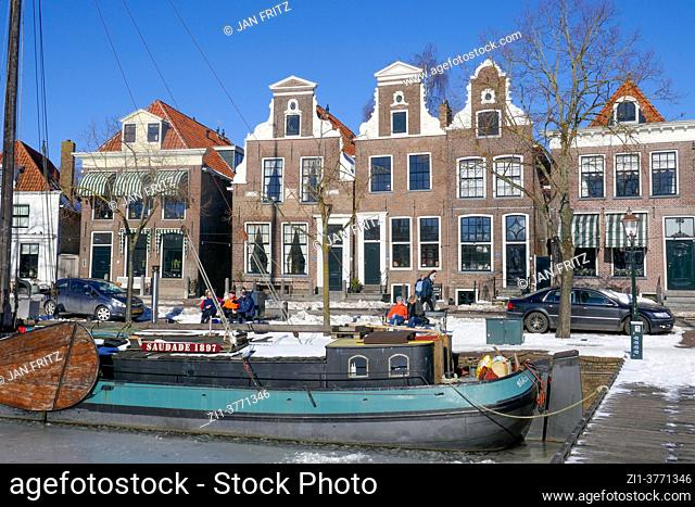 view at Blokzijl with harbour in wintertime, Holland