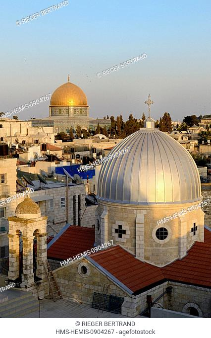 Israel, Jerusalem, holy city, the old town listed as World Heritage by UNESCO, the roofs of the Muslim Quarter, the church of Our Lady of the Spasm and the Dome...