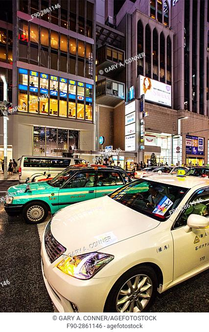 Taxi traffic in the evening, Ginza, Tokyo, Japan