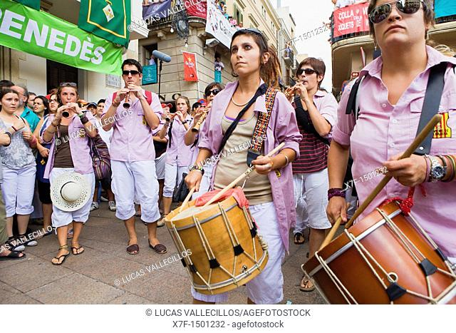 Musicians of Minyons de Terrassa  'Castellers', a Catalan tradition  Vilafranca del Penedès  Barcelona province, Spain