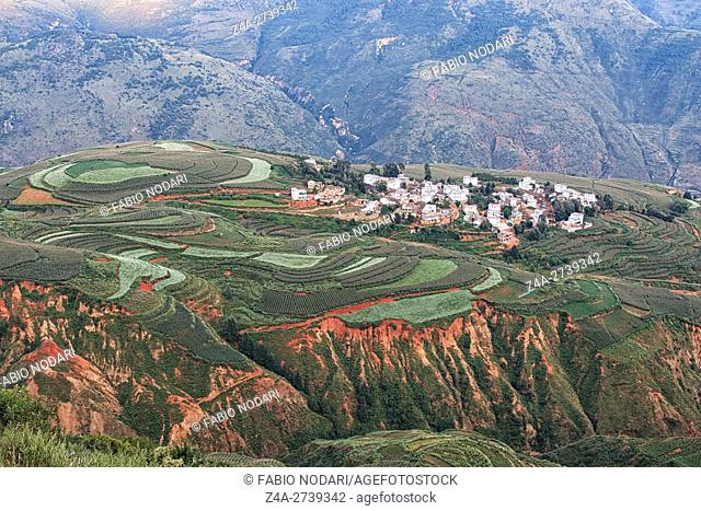 DongChuan red land panorama, one of the landmarks in Yunnan Province, China