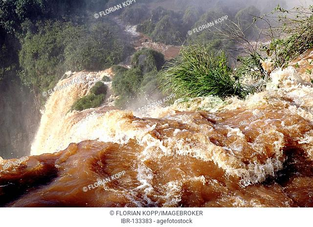 The Iguazu Falls at the border between Argentine and Brazil: Close up view of a cascade