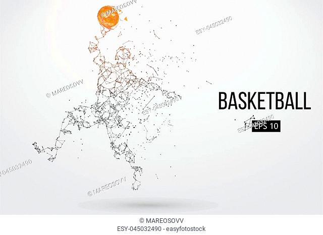 Silhouette of a basketball player. Dots, lines, triangles, color effects and background on a separate layers, color can be changed in one click