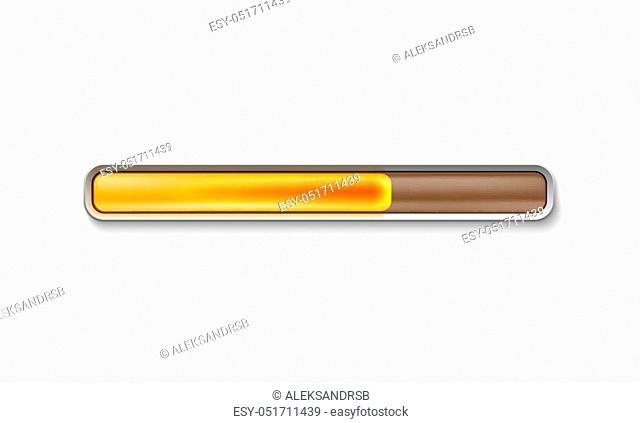 Orange loading bar isolated on white background. Vector illustration