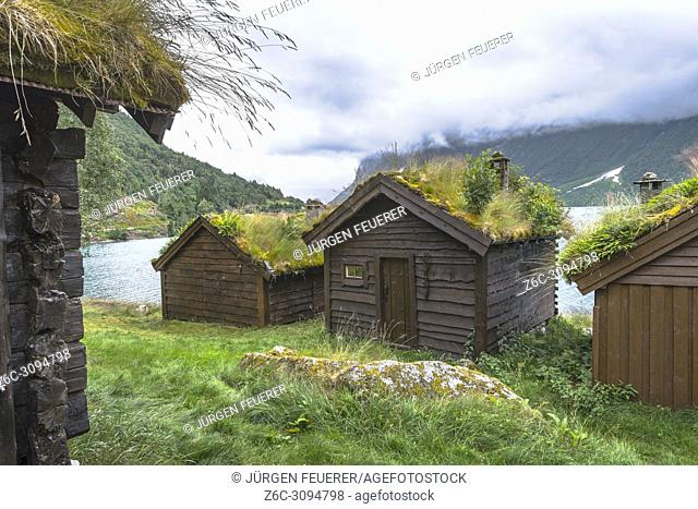 mountain pasture Breng with old alpine huts, in the Jostedalen, Norway