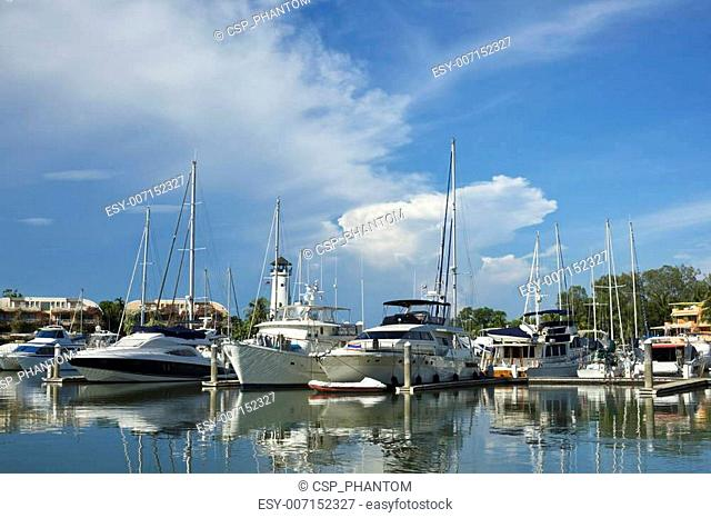Early morning at the yacht harbor