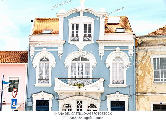 The ornate facade of one of the many Art Nouveau style buildings that line the Central channel Aveiro Portugal