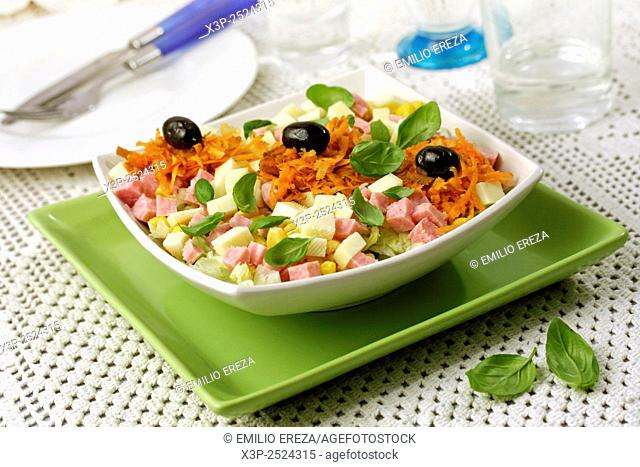 Cheese and sausage salad