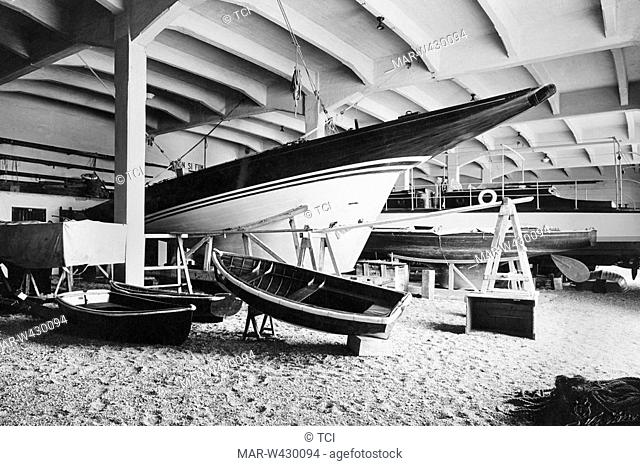yacht depot, genova, liguria, italy, 1930-40