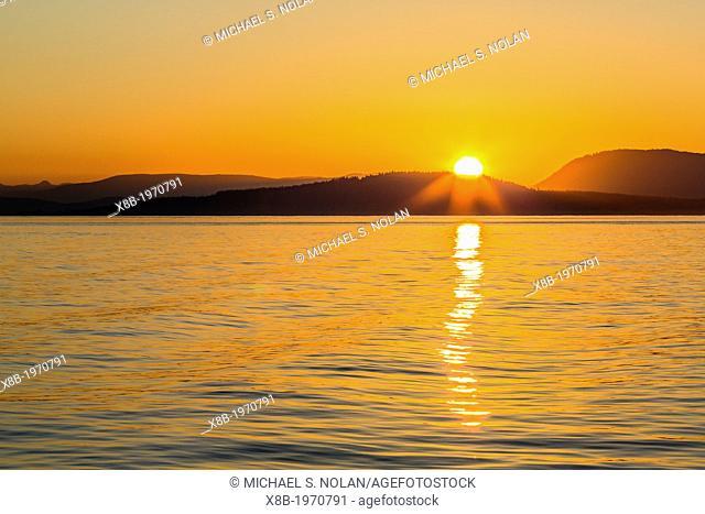 Pacific Northwest sunset, Haro Strait, Saturna Island, British Columbia, Canada