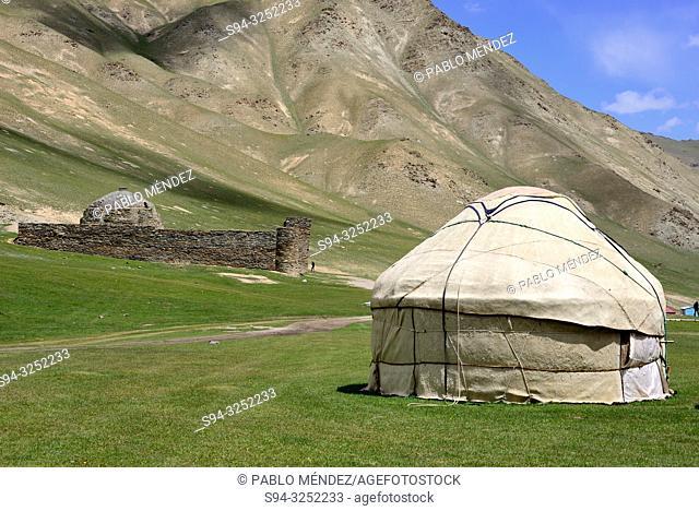 Yurts and Caravanserai in Tash Rabat valley, Naryn province, Kyrgyzstan