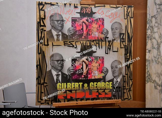 The self-portrait of the street artist Endless with Gilbert & George donated to the Uffizi Gallery , Florence, ITALY-08-02-2021