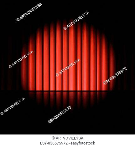 Illustration of Curtain of red background