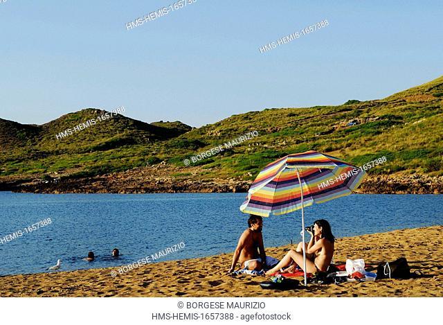 Spain, Balearic Islands, Menorca, Cala Pilar beaches and rocks