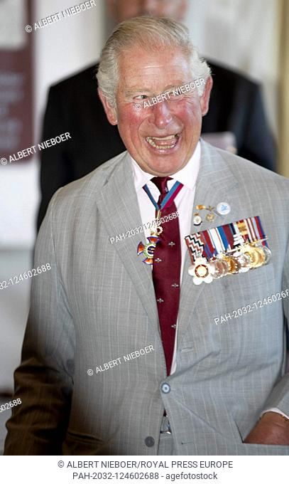 Charles, Prince of Wales at the Airborne Memorial, Airborne Museum Hartenstein in Oosterbeekl, on September 21, 2019, in conversation with veteran and glider...