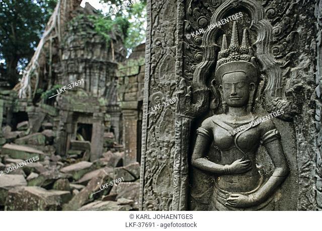 Stone relief, Ta Prohm, Angkor, Cambodia