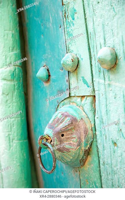 Door. Architecture in the historic town of Al Hamra, Oman