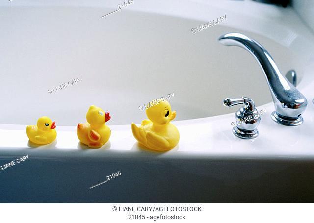 Ducks on bath tub