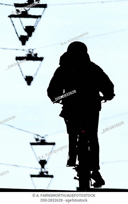 STOCKHOLM, SWEDEN Bicyclist on Götgatan on Södermalm