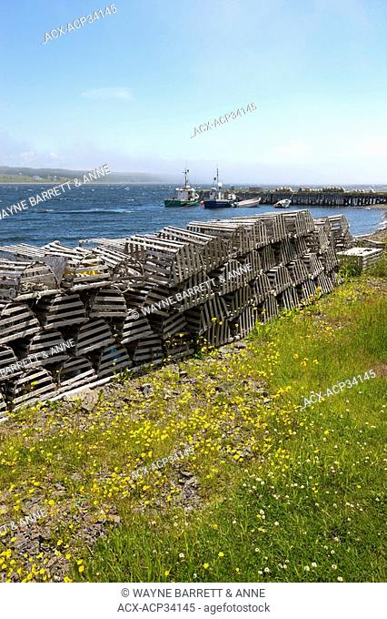 Stacks of lobster traps, North Harbour, Newfoundland and Labrador, Canada