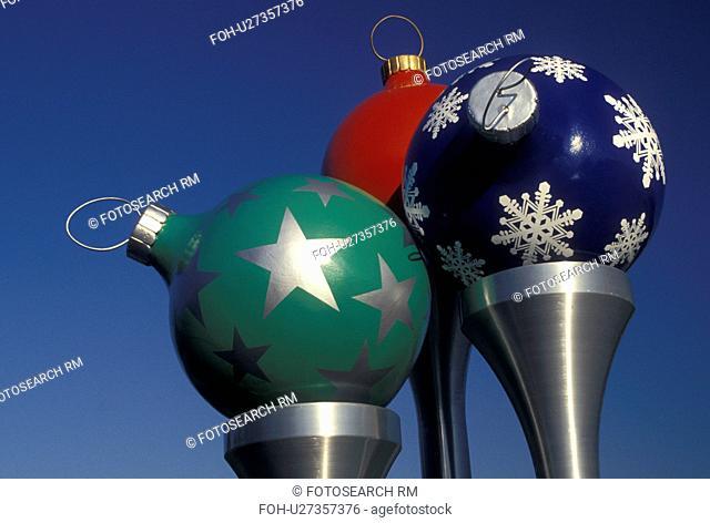 christmas balls, golf club, Christmas decorations, FL, Orlando, Lake Buena Vista, Florida, Colorful Christmas balls on large spun-metal golf tees decorate the...