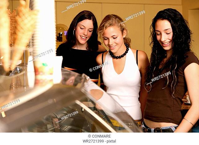 girls, teenagers, beauty, cafe, ice cream, teens