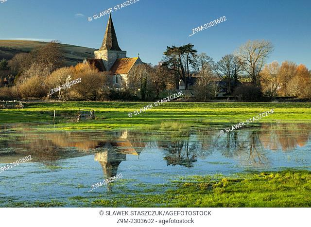 Flooded village of Alfriston, East Sussex, England