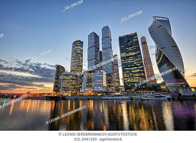 "The Moscow International Business Centre (MIBC), also known as ""Moscow City"""" at dusk. Moscow, Russia"