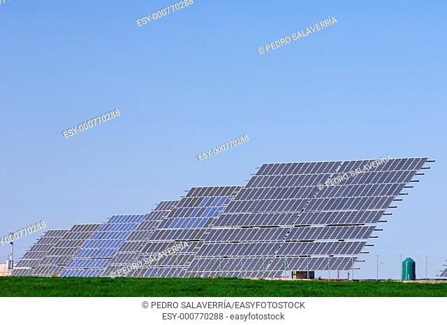 solar panels group with blue and clear sky in Belchite, Saragossa, Aragon, Spain