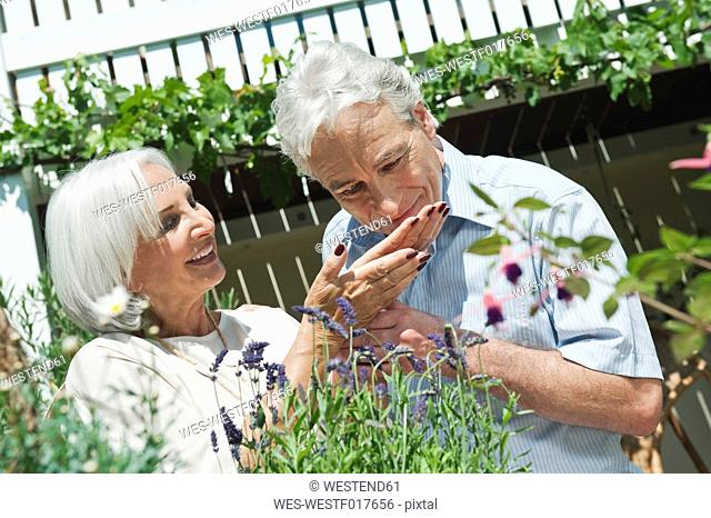 Germany, Bavaria, Mature man and senior woman in garden, smiling