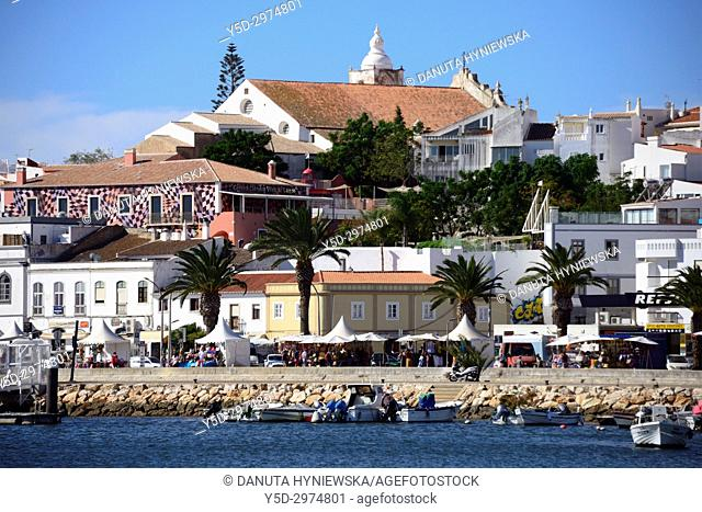 View for the old town with Sao Sebastiao church on the hill from Bensafrim river, Lagos, Algarve, Portugal, Europe